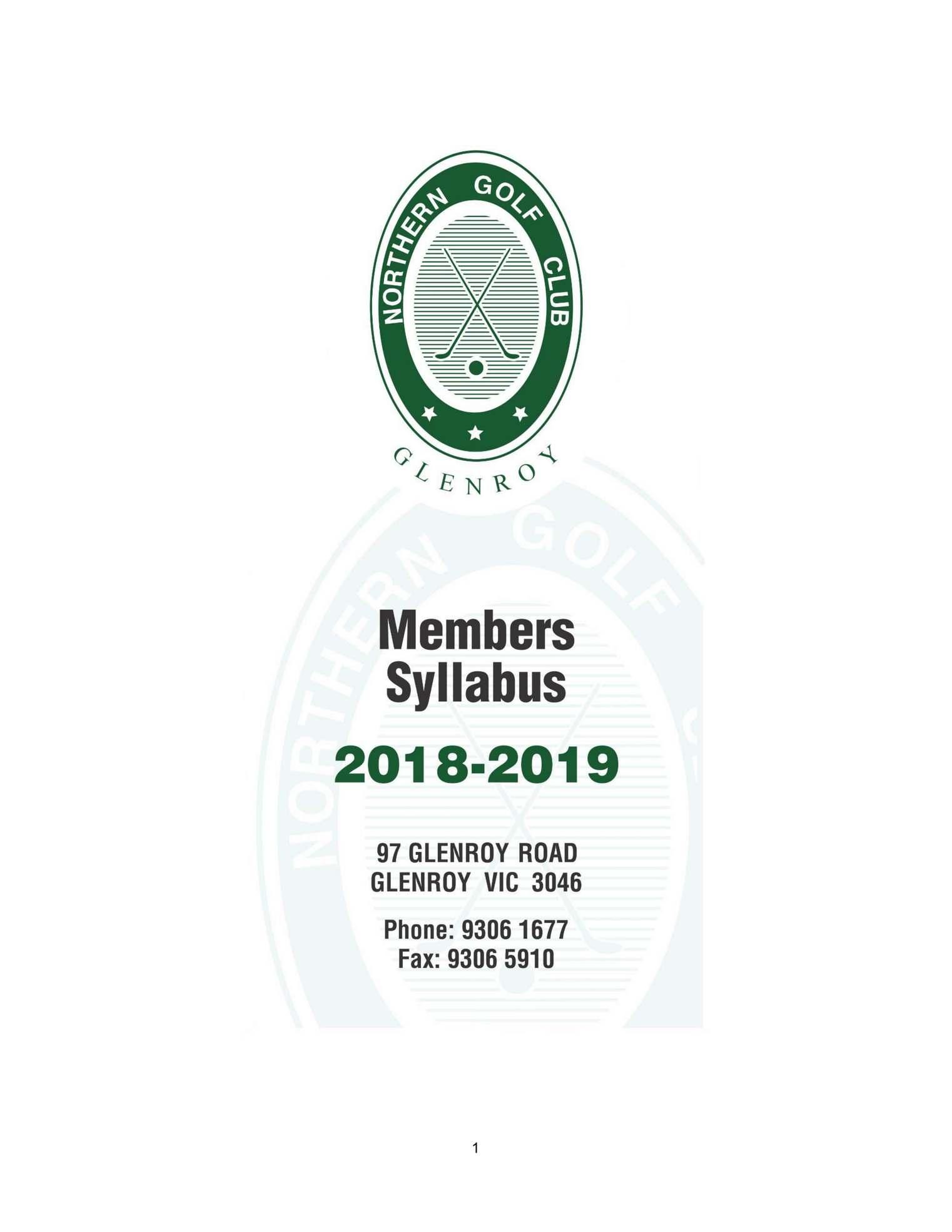 Northern Gc Members Handbook 2018
